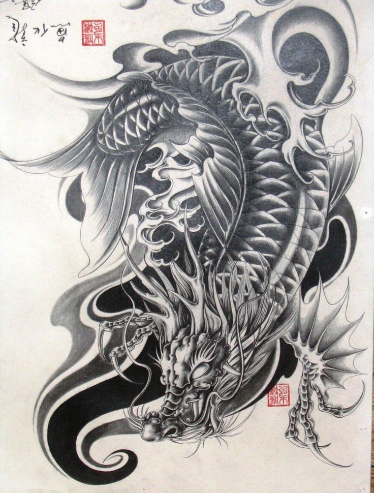 Dragon koi dragon tattoos pinterest dragon and koi for Black dragon koi