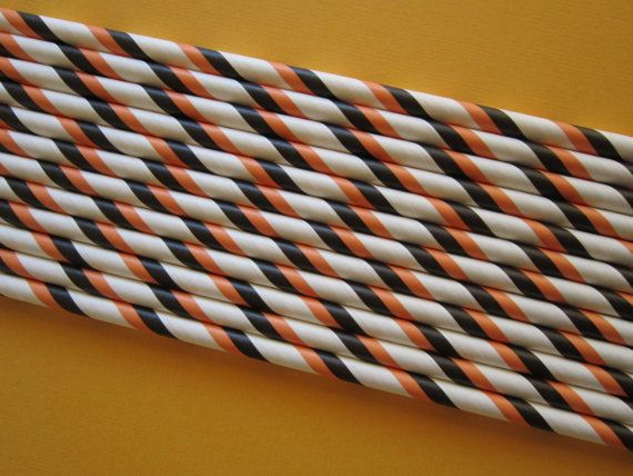 25 Orange Black & White Striped Paper Drinking by DKDeleKtables