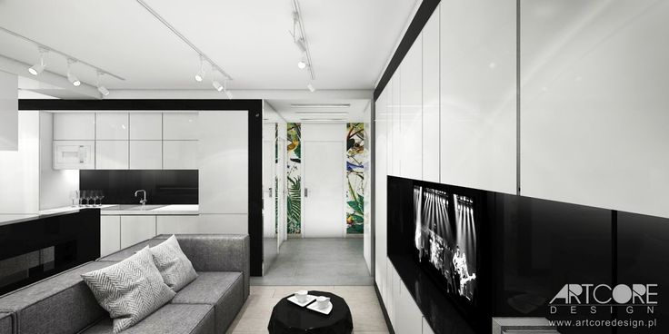 Projektowanie wnętrz nowoczesnego apartamentu w Krakowie. Więcej na www.artcoredesign.pl .