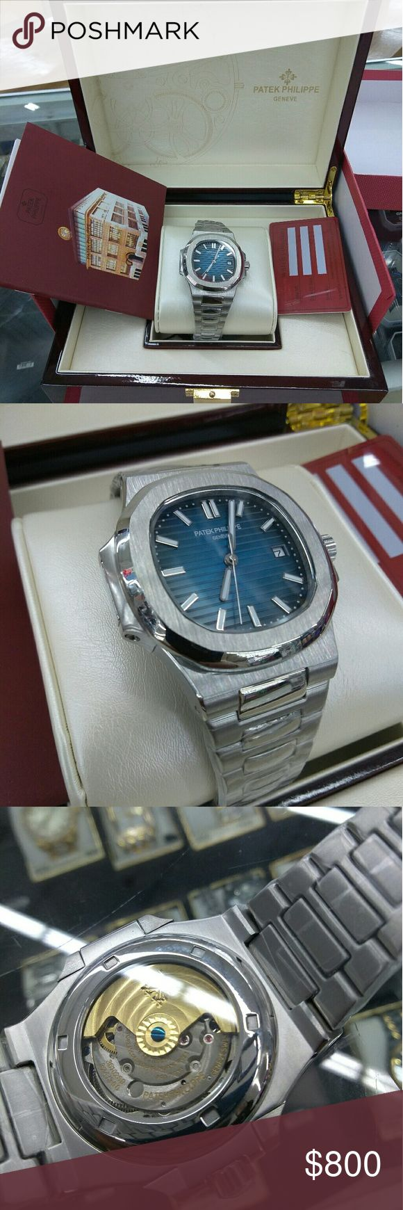 Patek Phillippe Nautilus Brand New clone  ! Rare find comes with patek phillippe box Mechanical movement (no tick) Stainless steel adjustable band Patek Philippe Accessories Watches