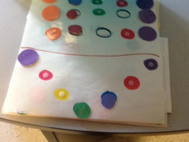 Colored circles 2- i know its a strange leisure skill but our kiddo liked playing with bingo circles so jena made her something with a variety of colors- a whole book of shapes ad patterns- she loves it and really relaxes while doing it!