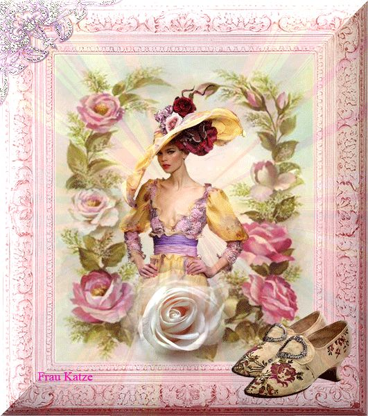 Анимационная картинка Девушки Розовые и белые розы