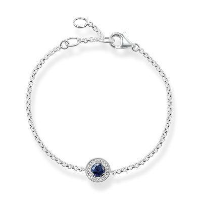 Bracelet femme composé pendentif bleu marine orné de strass métal argenté…