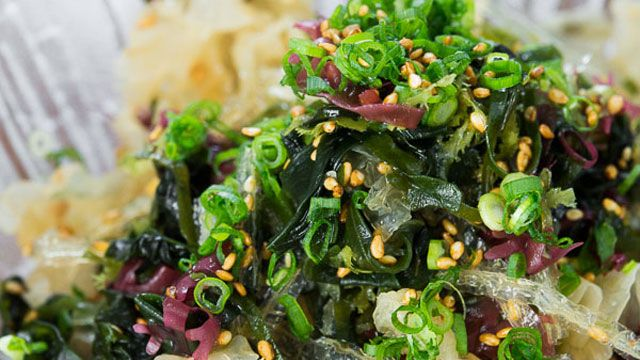 This seaweed salad recipe is a healthy Japanese dish. It is sustainable and loaded with nutrients like fiber, vitamins and minerals like iron and magnesium.