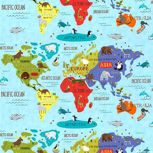 224 mejores imgenes de kids en pinterest hello world world map menagerie quilt fabrics from equilter gumiabroncs Choice Image