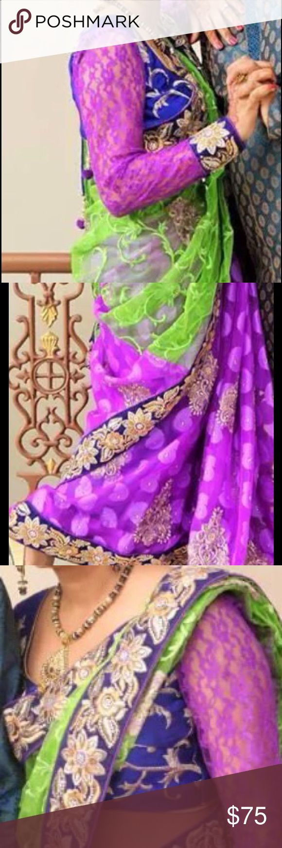 Beautiful purple with green in the middle saree Beautiful saree wore 1 time in good condition blouse long sleeve. Dry cleaned ready to ship Other