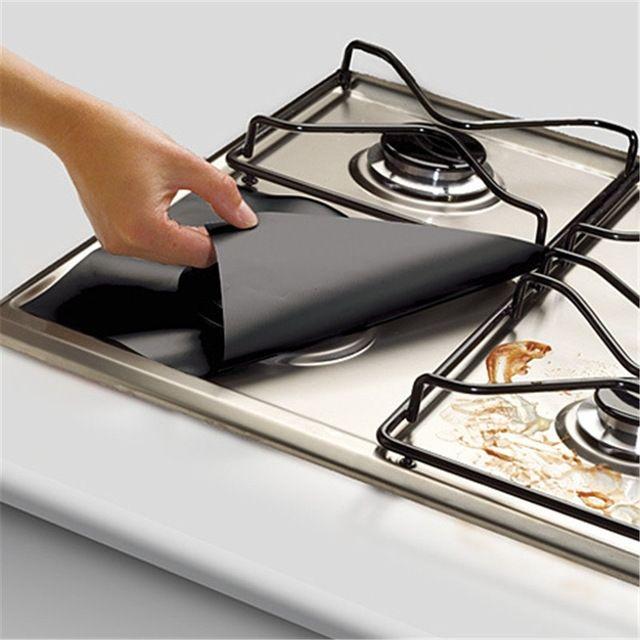 Reutilizable Foil 4 Unids/set Cubierta Liner Quemador Estufa Cocina De Gas Gama Protector Para la Limpieza de Cocina Juegos De Herramientas De Cocina