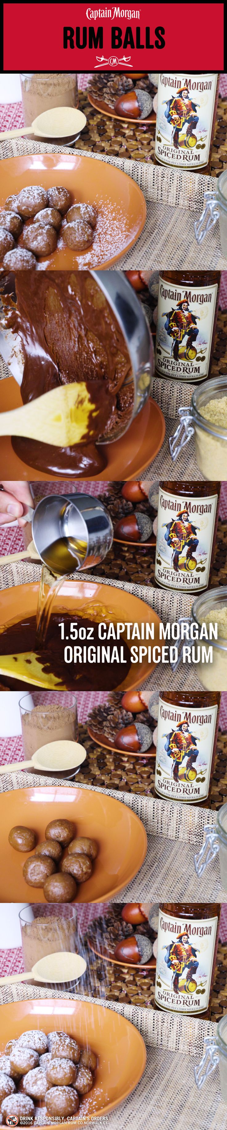 This holiday Captain is more than a drinking buddy, cook up some fun with his rum balls. Rum Balls Recipe: Combine 1 cup of melted chocolate chips with ¼ cup of light corn syrup 1 cup of Captain Morgan Original Spiced Rum 12 oz of processed vanilla wafer cookies Refrigerate for 15 minutes Roll into 1-inch balls Refrigerate for 30 minutes Dust with confectioner's sugar Get more rum recipes at https://us.captainmorgan.com/rum-cocktails/
