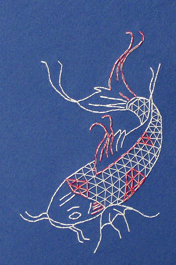 Koi Fish Embroidery : embroidery, Journal, Drawing,, Fish,, Paper, Embroidery