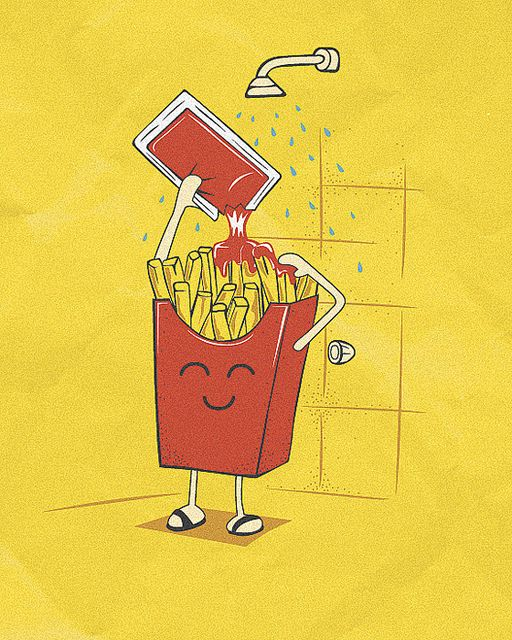 "#Vector Illustration ""FRENCH FRIES SHAMPOO"" by Ospina Oscar"