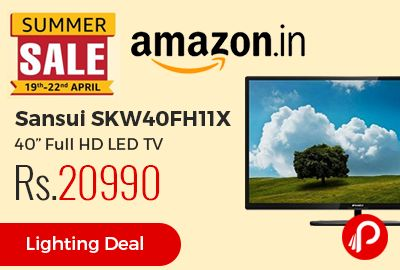 """Amazon #SummerSale brings 31% off Lightning Deal on Sansui SKW40FH11X 40"""" Full HD LED TV at Rs.20990 Only. 3 USB Ports, 4 HDMI ports connectivity. 60 hertz Refresh Rate, Full HD, 16.7 Million Colours, Audio Return Channel, Easy Connect, 1+4 years extended brand warranty.  http://www.paisebachaoindia.com/sansui-skw40fh11x-40-full-hd-led-tv-at-rs-20990-only-amazon/"""