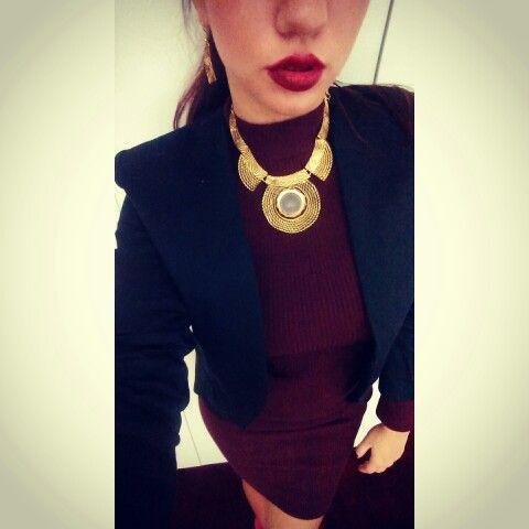 Golden goddess statement // burgundy dress // black blazer