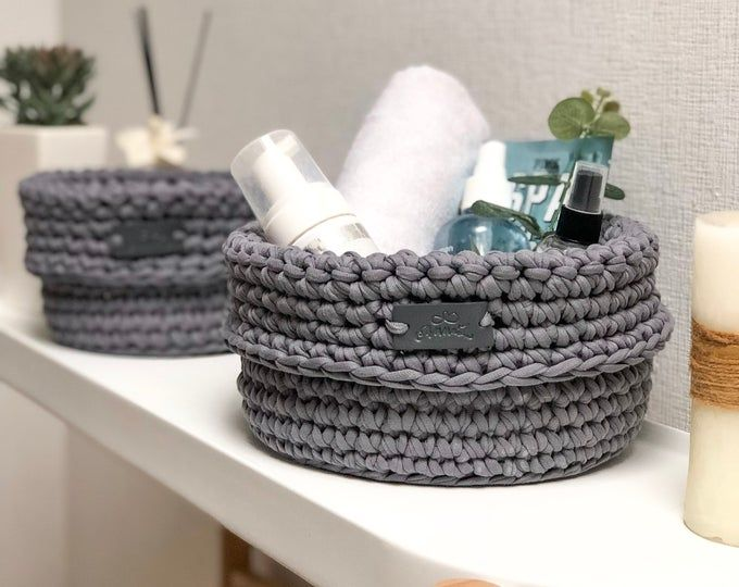Set Of Two Cosmetics Organizers Crochet Baskets Storage Etsy In 2020 Storage Baskets Crochet Basket Crochet Storage Baskets
