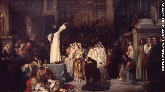 Ludwig Von Langenmantel S 1881 Painting Quot Savonarola Preaching Against Luxury And Preparing The