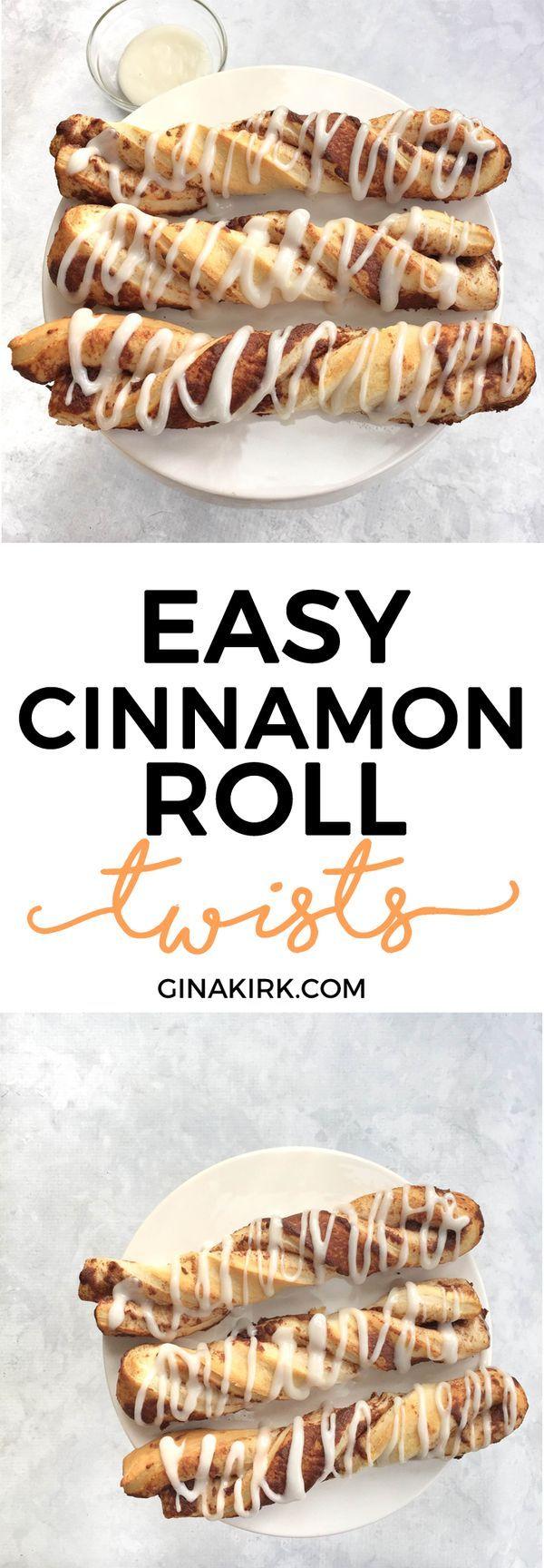 Easy cinnamon roll twists | Canned cinnamon roll breakfast ideas | Cinnamon roll bread sticks | Breakfast cinnamon sticks | GinaKirk.com @ginaekirk