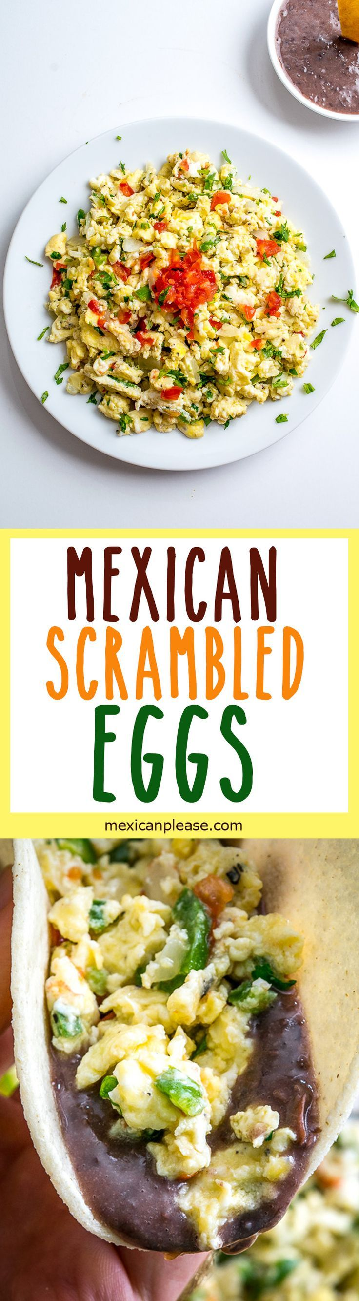 These Mexican Scrambled Eggs are perfect for lazy weekend mornings: well-balanced, easy to make, and they have real kick. Try draining the tomatoes before adding them to the pan, so much better! http://mexicanplease.com