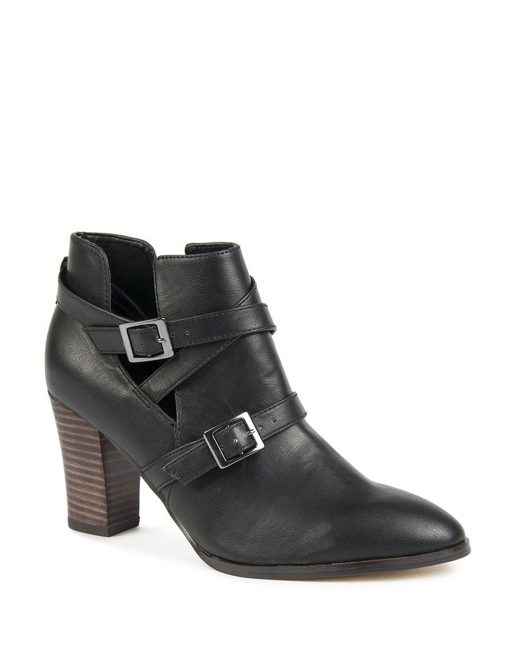 Cutout Buckle Ankle Boots