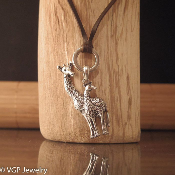 Grote Giraf Ketting: verstelbare leren ketting bruin of zwart