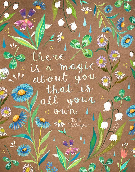 Une impression de magie About You | Aquarelle botanique | Floral frontière | Dellinger citation | Daisy de Katie | 8 x 10 | 31: 14
