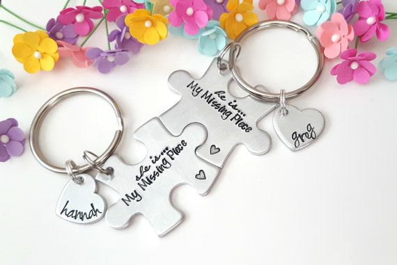 Christmas Gifts for Boyfriend, His and Hers, My Missing Piece, Boyfriend Girlfriend Keychains, Perso
