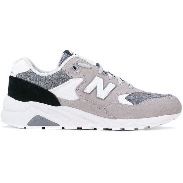 New Balance 580 deconstructed leather sneakers ($122) ❤ liked on Polyvore featuring men's fashion, men's shoes, men's sneakers, grey, new balance mens shoes, mens grey shoes, mens gray dress shoes, mens grey sneakers and mens leather shoes