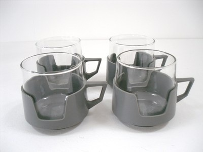 Retro 1960s light grey glass mugs.  i remember we had some like this, but brown.  cdx