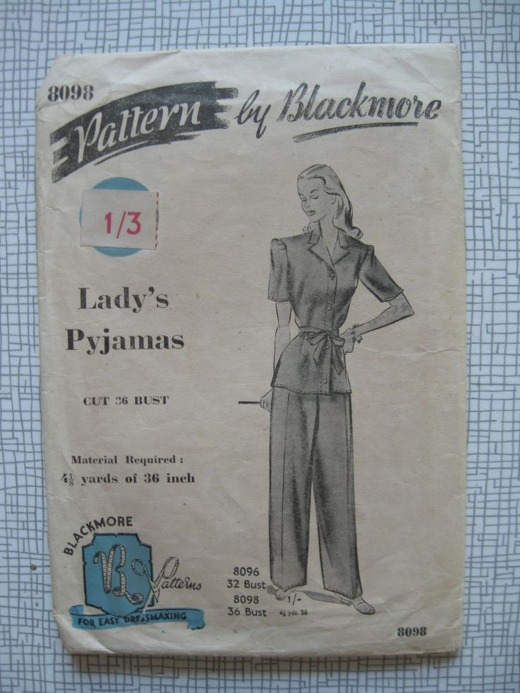 """1940s Lady's Pyjamas - 36"""" Bust - Blackmore 8098 - Sewing Pattern - Vintage by BlitzAndGlamour on Etsy https://www.etsy.com/listing/203562734/1940s-ladys-pyjamas-36-bust-blackmore"""