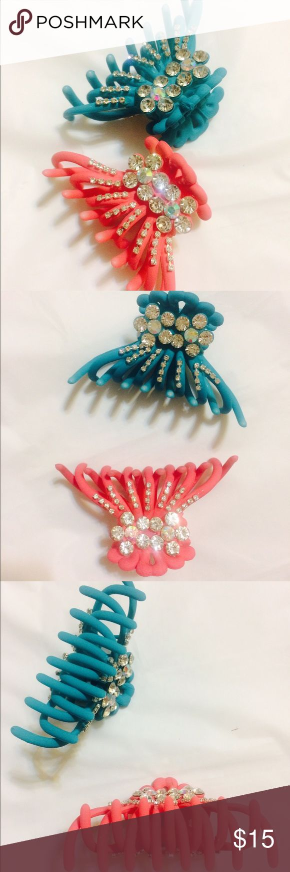 😎GREAT CLIPS HAIR CLIPS price for 2 😁 Beautiful medium size solid colors hair clip with Studded Fashion Diamond to give it rich look. Open for Offers ;) Accessories Hair Accessories