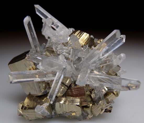Quartz on Pyrite