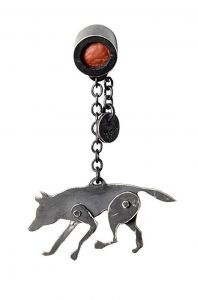 Wolf lapel pin in oxidised sterling silver and leather - $242