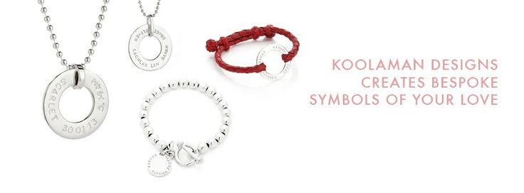 From left to right: KATE pendant in small font, JULIA pendant at the back, IVY bracelet with RUBY pendant, GUS in red leather. Full details available on koolaman designs website.
