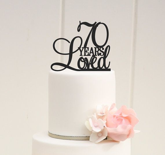 70th Birthday Cake Topper  70 Years Loved by ThePinkOwlDesigns