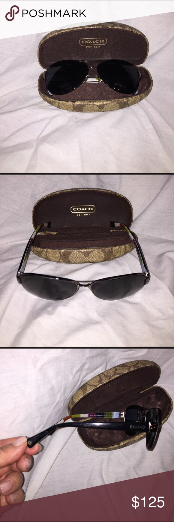 Coach Rx sunglasses Coach Rx aviator sunglasses with hard case. Has prescription lenses for distance can be switched out with your prescription or with no Rx lenses. Coach Accessories Sunglasses