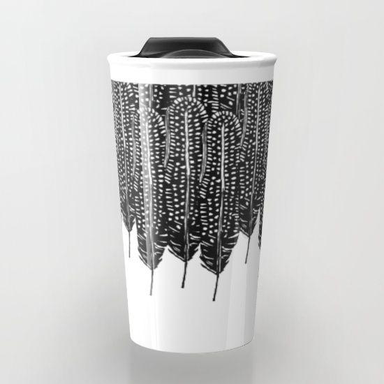 Black & White Feather Wilderness Travel Mug #mug #travel #travelmug@society6 #black&white #feathers #forest #pattern #art #abstract #black #feather #ink #design #artist #interiordesign #homedecor #home #bohemian #boho #bohochic