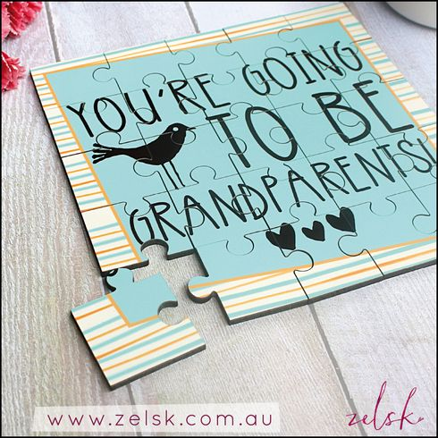 'You're going to be Grandparents' hardboard keepsake jigsaw puzzle - unique + sweet pregnancy announcement.