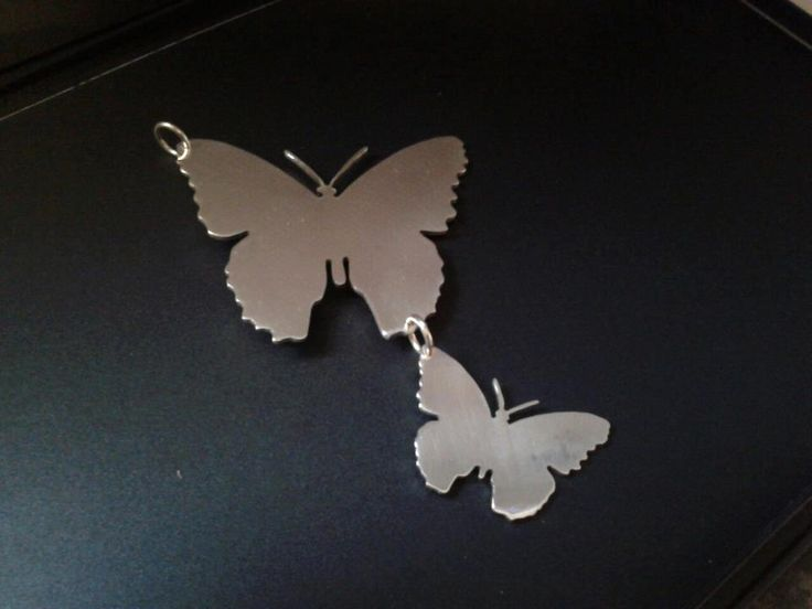 sterling silver double butterfly pendant . 25mm x 20mm handmade 925, £39.99