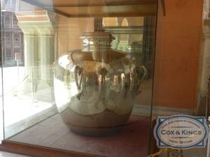 Like Amer Fort, City Palace has various interesting things like Diwan-e-Am and Diwan-e-Khas, which has 2 huge sterling silver vessels of 5.2 ft in height, each with a capacity of 4,000 litres and weighing 340 kilograms. They were made from 14,000 melted silver coins without soldering. They are officially recorded by the Guinness Book of World Records as the world's largest sterling silver vessels. #CoxandKings