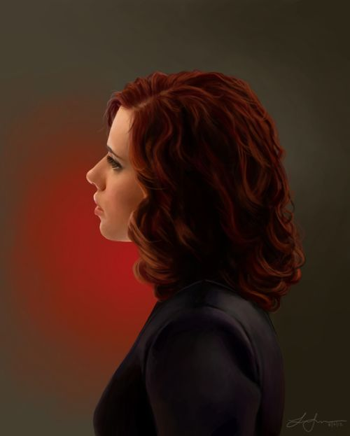 Digital painting of Scarlett Johansson's Natasha Romanoff. artist -- http://thetuxedos.tumblr.com/post/28852541847/painting-of-natasha-romanoff-if-i-could-only