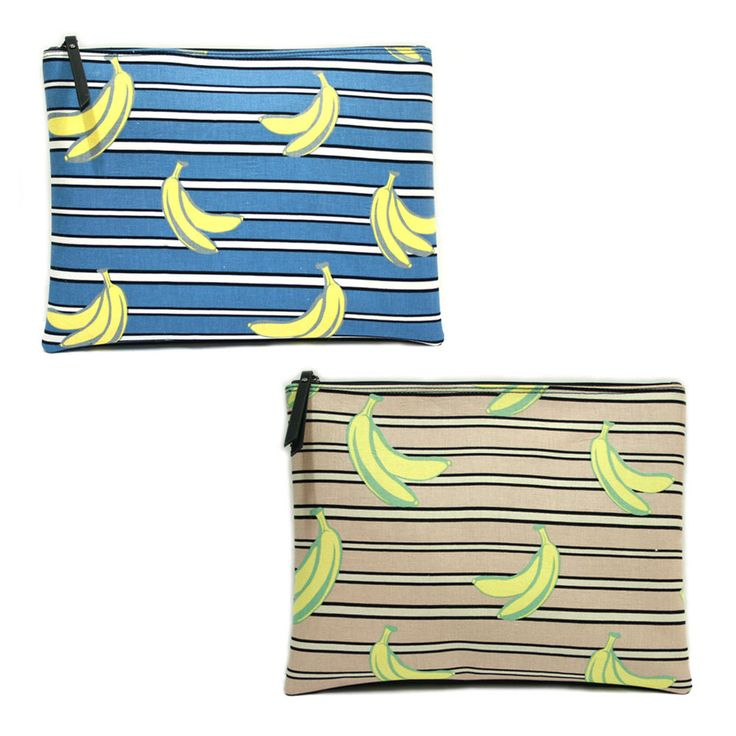 Korea Women Figure BANANA Pouch Bag Handbag Purse Faux Leather Polyester Large  #KoreaBrand #Clutch