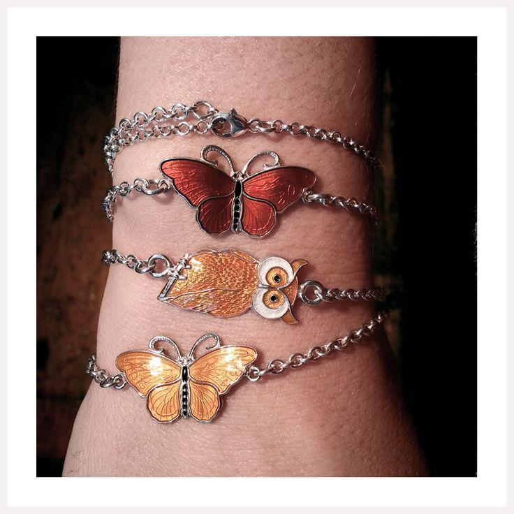 Enamel butterfly and owl bracelets in colours of fall