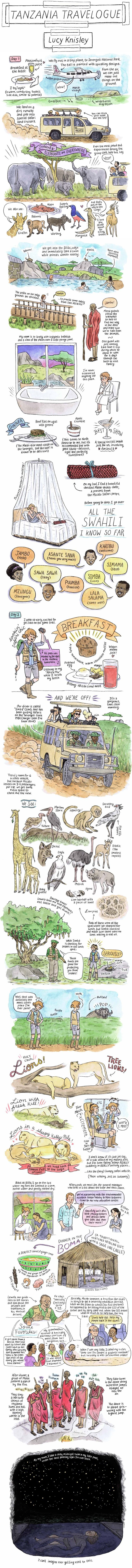 "Cartoonist Lucy Knisely shares part of the story of a recent trip through Qatar and Tanzania, which involves lion sightings, midnight swims, and many exclamations of ""wow""."