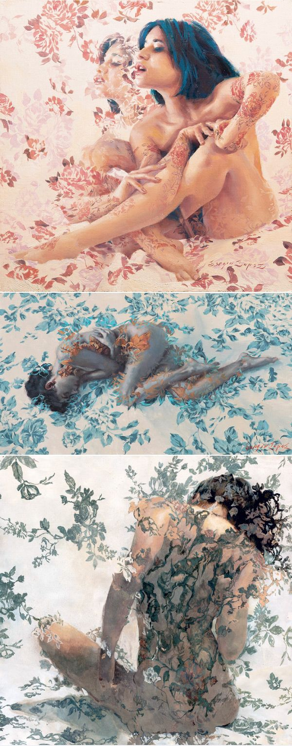 Il pittore californiano Sergio Lopez crea dipinti di nudi femminili decorati e coperti solo di fiori!