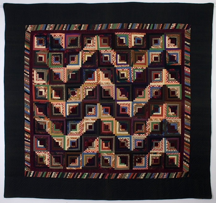 Streak of Lightning Setting. Log Cabin Quilt done primarily in wools with maroon velvet centers and inner border. Circa 1880; measures 80 x 86 inches. ~♥~Lighten Quilt, Antiques Streaks, Antiques Quilt, Lightning Logs, Art Quilt, Lightning Quilt, Lighten Logs, Log Cabins, Logs Cabin Quilt