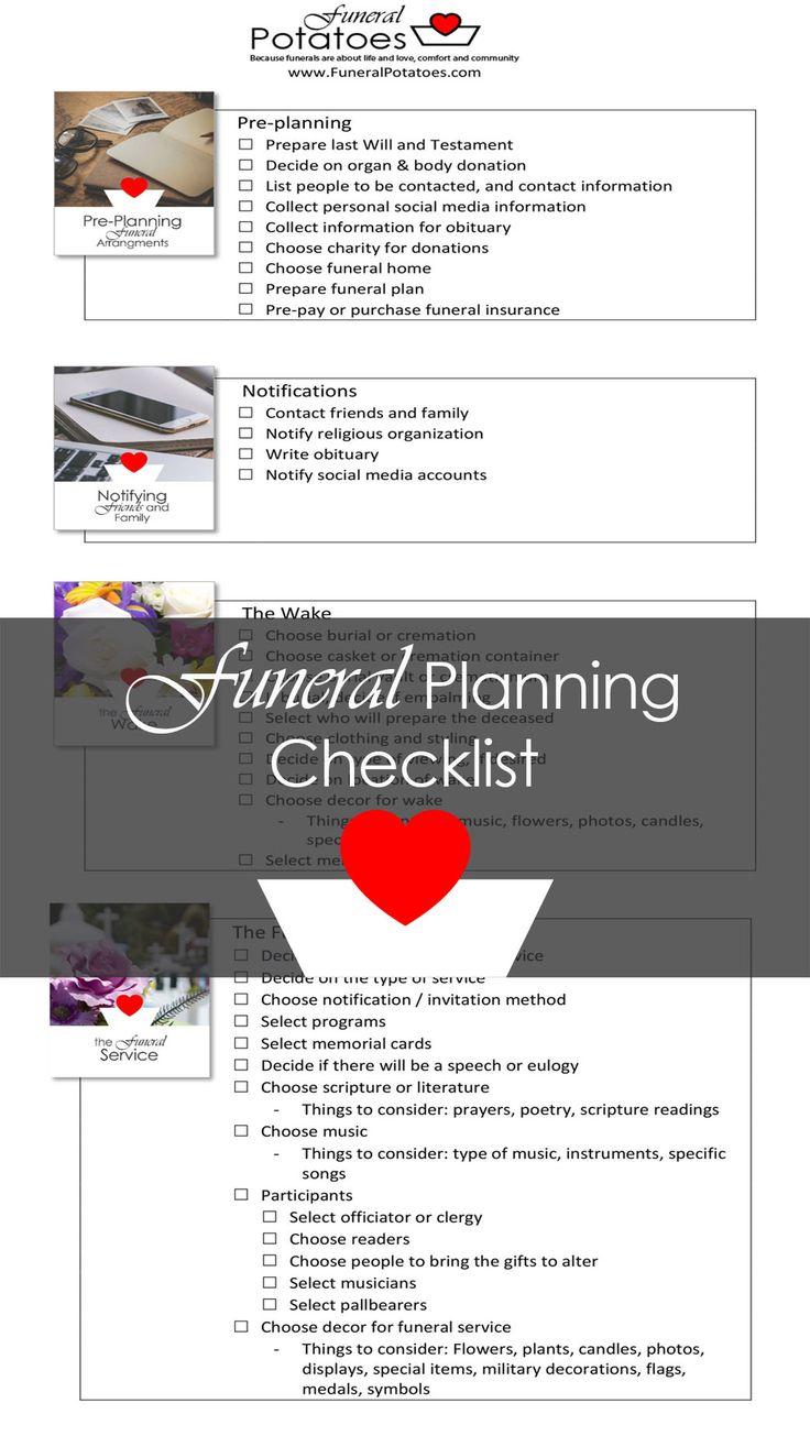 Funeral planning checklist and memorial planning checklist
