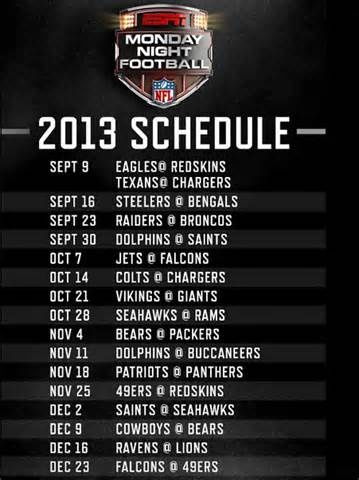 Monday Night Football- 2013 Schedule!