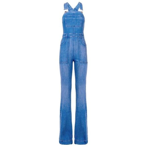 Stella McCartney Long Denim Dungarees (£550) ❤ liked on Polyvore featuring jumpsuits, denim overalls, long overalls, denim jumpsuit, overalls jumpsuit and blue overalls