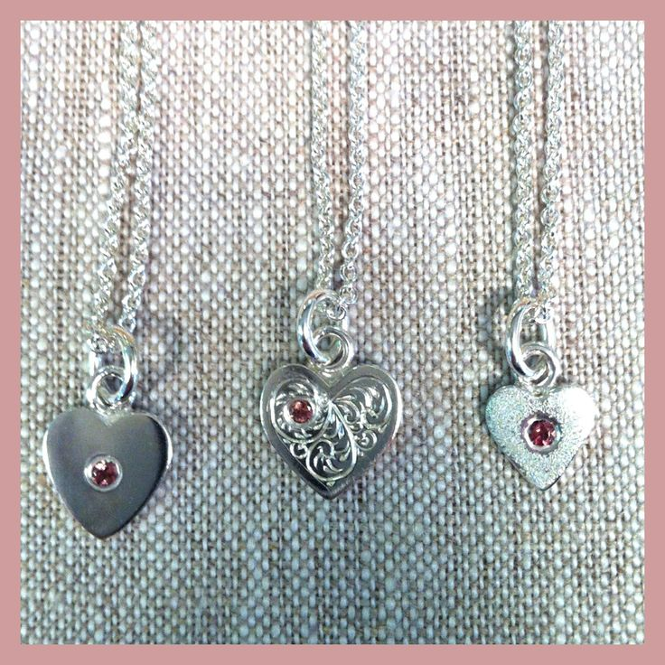 Sterling Silver and Pink Tourmaline Baby Pendants