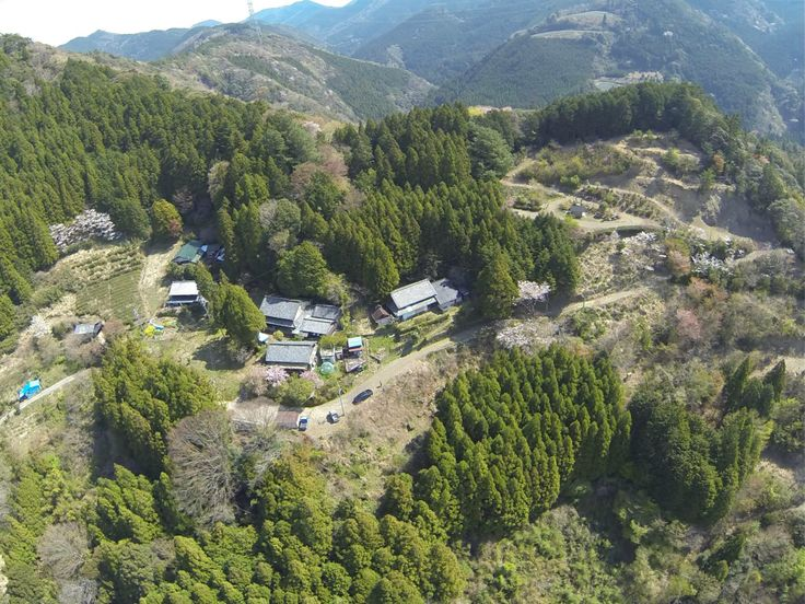 The mountain village taken by helicopter from air.