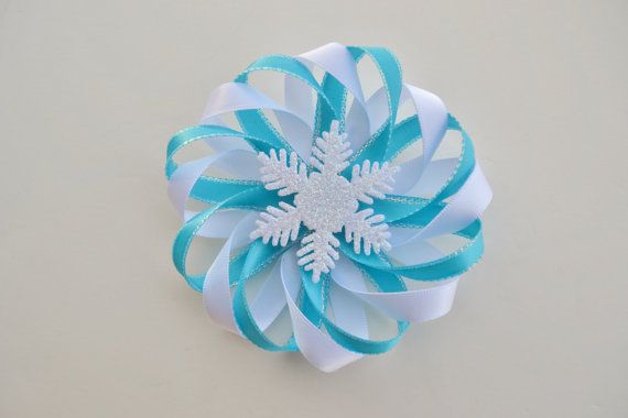 Frozen Hair Bow  Snowflake Hair Clip  Winter by ZZHairAccessories, $4.50