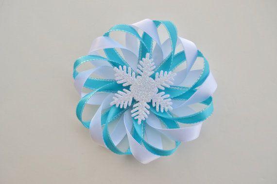 Frozen Hair Bow  Snowflake Hair Clip  Winter by ZZHairAccessories, $4.50